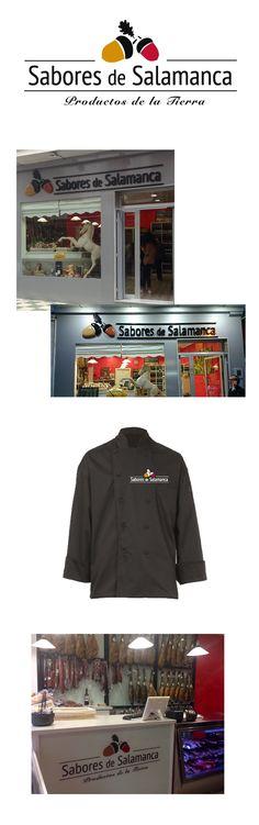 Aplicación del logotipo de Sabores de Salamanca a uniformes y diseño de la tienda