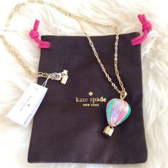 ☆NWT Kate Spade Hot Air Balloon Pendant Necklace ☆ Adorable hot air ballon pendant, brand new & authentic.  Whimsical, well-made piece with just the right amount of pretty color and twinkle that instantly upgrades any outfit. 12-karat gold plated, comes in original Kate Spade bag. kate spade Jewelry Necklaces