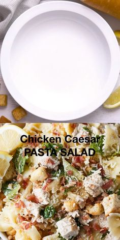 Chicken Caesar Pasta Salad - So creamy and tasty with all the flavors you love from a classic Caesar salad. Chicken Ceaser Salad Recipe, Chicken Ceasar Pasta Salad, Pasta Salad With Spinach, Caesar Pasta Salads, Best Pasta Salad, Chicken Salad Recipes, Pasta Salad With Chicken, Spinach Dip, Recipes