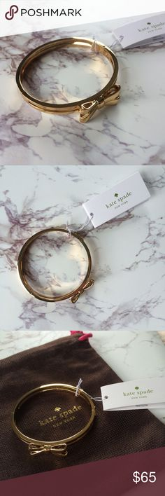 Gold Kate Spade Double Bow Hinge Bangle Gold Kate Spade double bow hinge bangle. New with tags. Comes with dust bag. Never worn and in perfect condition.    • No Trades                                                                • Please use OFFER button for reasonable offers kate spade Jewelry Bracelets