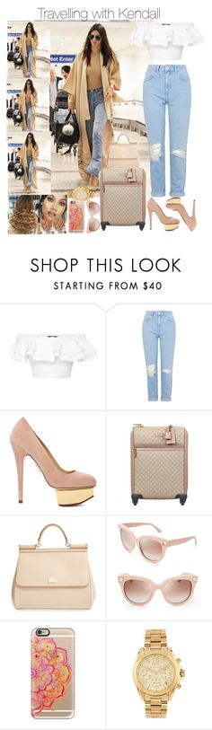"""Travelling with Kendall"" by jdyolaleye ❤ liked on Polyvore featuring Alexander McQueen, Topshop, Charlotte Olympia, Gucci, Dolce&Gabbana, Valentino, Casetify and Michael Kors"
