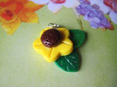 Sunflower Charm Polymer Clay Jewelry by ReneeRoughCreations,