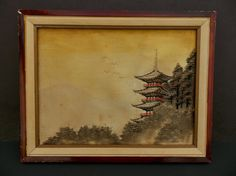 Vintage Framed Japanese Hand Embroidered Woven by LotusInTheWind
