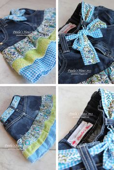Do you remember my patched pants last year? N-Erinnert ihr euch an meine geflickten Hosen letztes Jahr? Na dann schaut mal wa… Do you remember my patched pants last year? Well then look what has become of it … Our son were they … - Sewing Jeans, Sewing Clothes, Diy Clothes, Sewing Aprons, Jeans Recycling, Recycle Jeans, Artisanats Denim, Denim And Lace, Next Jeans