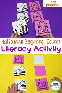 Grab this free Halloween Beginning Sounds Activity for your Kindergarten literacy centers! This easy-prep activity will be an instant hit! Kindergarten Literacy, Kindergarten Activities, Literacy Centers, Learning Activities, Beginning Sounds, Halloween Activities, Halloween Fun, Short Vowel Activities, Student Crafts