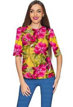 Indian Summer Sophia Yellow Pink Floral Print Top - Women