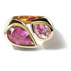 'Deux Poires' yellow gold ring set with pink tourmaline