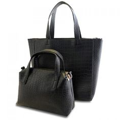 Wholesale Vintage Black and Crocodile Print Design Women's Tote Bag