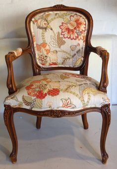 Louis chair upholstered in our customer's own P Kaufmann fabric