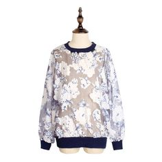 Transparent Flowers Top (195 RON) ❤ liked on Polyvore featuring tops, blue, blue top, sheer top, sheer flower top, see through tops and blue sheer top