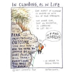 cartoonconnie: In climbing as in life. // #climbing #comics...