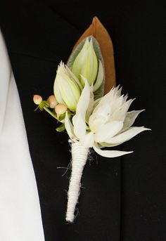 Gold magnolia leaf boutonniere with lambs ear white floral and white twine