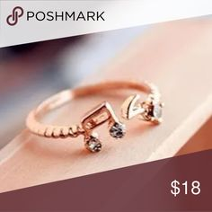 Cute Gold Filled CZ Music Note Ring Brand New Jewelry Rings