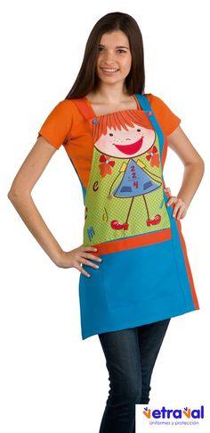 € 29,95 - Estola Maestra Niña Rubia Azul Ducados Teacher Apron, Medical Scrubs, Bible For Kids, Embroidery Applique, Cool Kids, Sewing Crafts, Couture, Fabric, Pattern