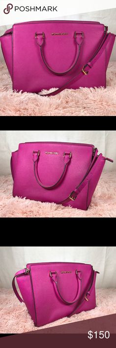Magenta Michael Kors Purse Large Selma Like new! VERY gently used, no stains. Michael Kors Bags Satchels
