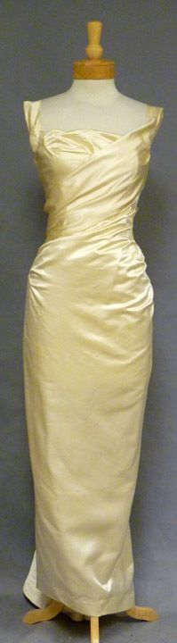 Vintageous, LLC - EXQUISITE Ceil Chapman Oyster Satin 1950's Evening Gown, $1,085.00 (http://www.vintageous.com/exquisite-ceil-chapman-oyster-satin-1950s-evening-gown/)