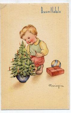 MARIAPIA Buon Natale Bambino con Albero Pacchetto Dono Palla PC circa 1940 ITALY…