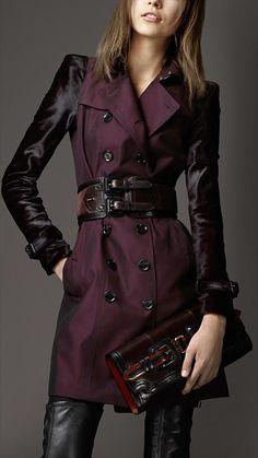 Trench coat medio in gabardine di cotone con maniche in cavallino   Burberry