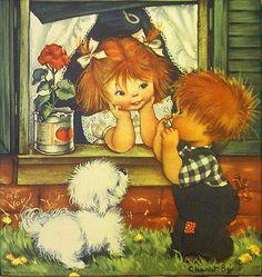 Vintage Charlot Byj Print Serenade Red Head Redhead Boy Girl Herbert Dubler BYI | eBay