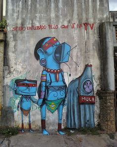 brazilian graffiti - blue men #streetart #Brazil #Cranio