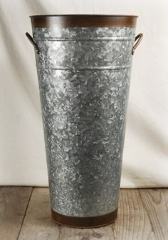 """17.00 SALE PRICE! . Galvanized Flower Market Bucket Two Tone 18 in.  each/ 3 for  each. 18"""" tall opening 9"""" wide. two handles. reg. price ..."""