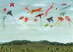 I've shared prints by Becca Stadtlander in previous daily hunt roundups, but think her striking work merits a full post. I love the Kentucky-based artist's folksy style and vibrant, ear… Go Fly A Kite, Kite Flying, American Gothic, Gouache Painting, Matte Painting, Gravure, Becca, Art Forms, Fine Art Paper