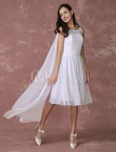 22a34cb934ce White Bridesmaid Dress Chiffon A Line Knee Length Wedding Party Dress With  Side Draping