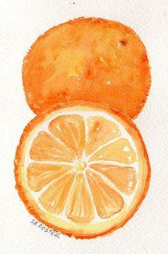 Oranges painting, Oranges Watercolors Paintings, Fruit Wall Art 4 x 6 Original Citrus wall art