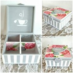 Caja de te Wooden Box Crafts, Cigar Box Crafts, Decoupage Furniture, Decoupage Paper, Wood Box Design, Pallet Boxes, Altered Boxes, Diy Box, Diy Projects To Try