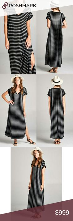 Striped weekend maxi dress side slits relaxed fit Sorry,  NO TRADES  Price firm unless bundled   Save money and bundle! Save 10 percent on any bundle of 2 or more items! Sofi + Sebastien  Dresses Maxi