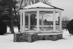 "We'll grab an apple, a good book and an old, warm quilt and go sit in the gazebo and ""listen"" to it snow. ;)"