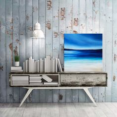 Beach painting, Ocean painting, Seascape art, Acrylic Abstract Modern wall art, Beaches, Sea Waves. Original painting by Nikki Chauhan 12""
