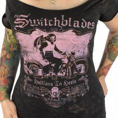 Serpentine Women's 'Switchblades' Off Shoulder T-Shirt | Tattoo Gothic Clothing