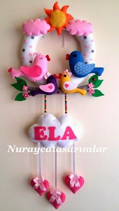 Felt Bird Door Decor Handmade Door Decor Baby Room by Lilamina Baby Crafts, Felt Crafts, Diy And Crafts, Crafts For Kids, Arts And Crafts, Bear Felt, Felt Baby, Felt Name Banner, Felt Birds