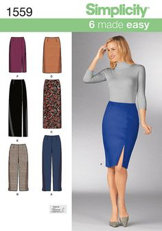 Misses' slim pants and skirts each in two lengths. Make a classic long skirt with a slit or a knee length tapered pencil skirt. Pants can be made to the ankle or capri.Fabrics: Cotton and Cotton Blends, Gingham, Laundered Cottons, Lightweight Denim, Pinwale Corduroy, Damask, Pique, Poplin, Seersucker, Twill, Velveteen, Sateen, Lightweight Wool and Wool Blends, Silks and Silk   Types, Challis, Crepe, Jacquards, Sueded Silks/ Rayons, Brocade, Satin, Shantung, Taffeta, Velvet, Matte Jerseys…