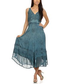 Another great find on #zulily! Teal Embroidered Midi Dress #zulilyfinds