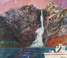Jan SZANCENBACH (1928-1998)  Pejzaż norweski z okrętem, 1983 olej, płótno; 101 x 115 cm;