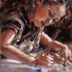 The Little Artist - pastel - by Alisa Wilcher etsy.com
