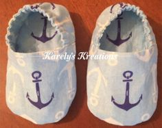 Items similar to Navy or Grey with White Anchor Baby Shoes on Etsy