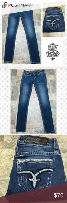 """Rock Revival Skinny Jeans size 26 Rock Revival Dee Skinny Jeans size 26, inseam 30-1/2"""", rise 7-1/2"""", waist laid flat 14"""". Distressed. Excellent condition. No trades. Rock Revival Jeans Skinny"""