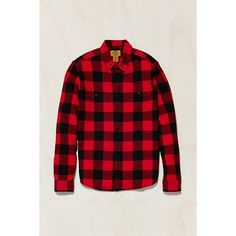 Stapleford Herringbone Buffalo Plaid Flannel Workshirt (54 CAD) ❤ liked on Polyvore featuring men's fashion, men's clothing, men's shirts, men's casual shirts, red long sleeve top, button down work shirts, red top, long sleeve work shirts and flannel work shirts