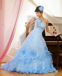 Amazing Light Blue Wedding Dress