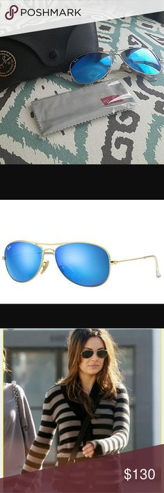 Authentic unisex rayban 3362 aviator sunglasses Brand new with tags. Blue shade lense. Gold metal frame. Unisex since both men and women have been seen wearing these. Model number 3362. Comes with cleaning cloth and black rayban case. Sorry no trades. Will ship same or next day. Ray-Ban Accessories Sunglasses