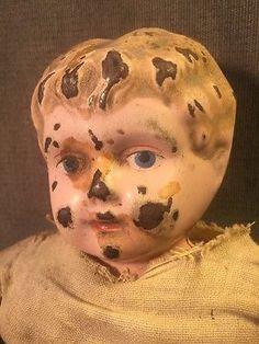 #Vintage #Minerva #Germany Tin Metal Head #Doll Painted Face Straw Sawdust Body TLC #eBay #treasuretrove952