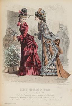 Le Moniteur de la Mode 1875. Love gray plaid. In wool