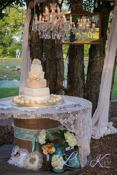 spool cake table with lace linen (mint cake table) Budget Wedding, Wedding Table, Fall Wedding, Rustic Wedding, Our Wedding, Wedding Planning, Wedding Ideas, Wedding Burlap, October Wedding