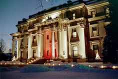 The beautiful Vanderbilt Mansion in winter. Located in the Hudson River Valley in Hyde Park, New York.