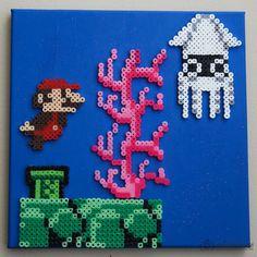 Super Mario Underwater Canvas Perler Beads by Kristen Lanae