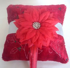 Red velvet ring bearer pillow
