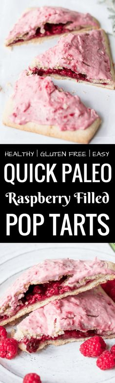 Easy to make paleo raspberry pop tarts are so full of flavor, naturally sweetened, and grain free. These delectable breakfast tarts have a delicious flaky crust (that doesn't crumble) and are filled with sweet berry filling. Gluten free and healthy! paleo pop tart recipes. best grain free pop tarts. best easy gluten free pop tarts. raspberry pop tarts. paleo fruit pop tarts.